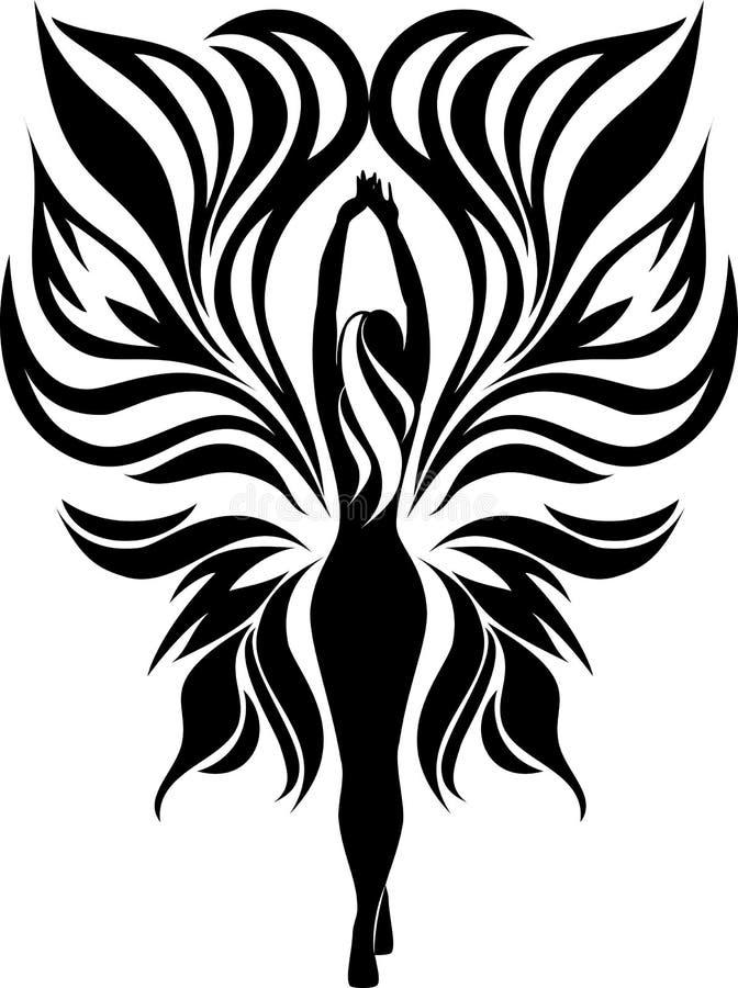 Silhouet van een meisjesvlinder royalty-vrije illustratie
