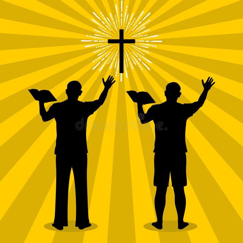 Silhouet van een mens aan God met gebed en verering wordt gedraaid die royalty-vrije illustratie