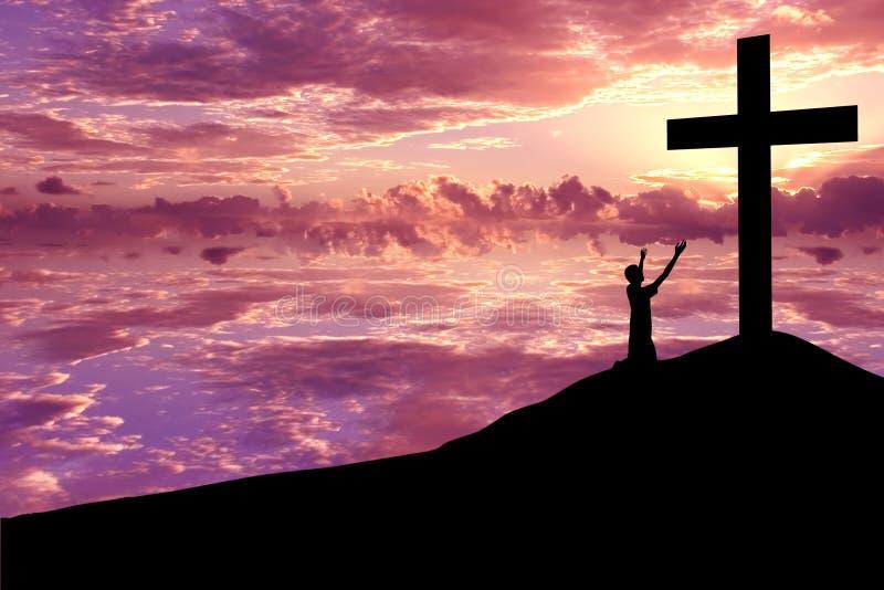 Silhouet van een mens die Jesus prijst royalty-vrije stock afbeelding