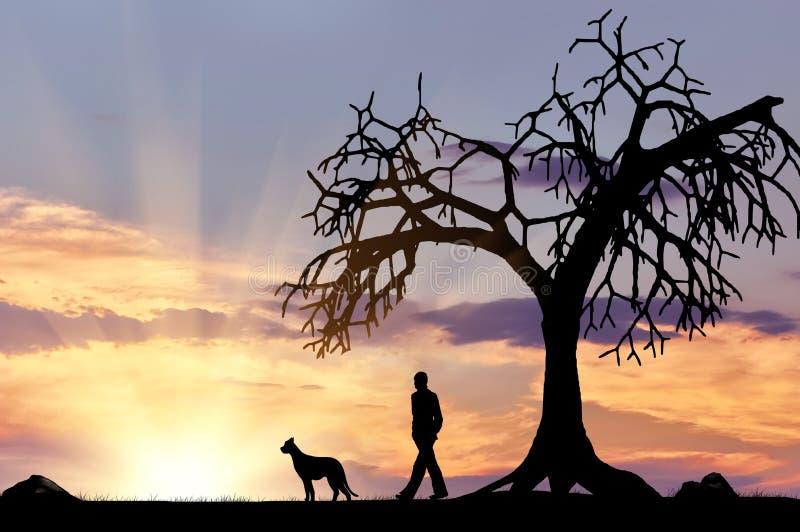 Silhouet van een mens die met een hond lopen royalty-vrije stock foto's