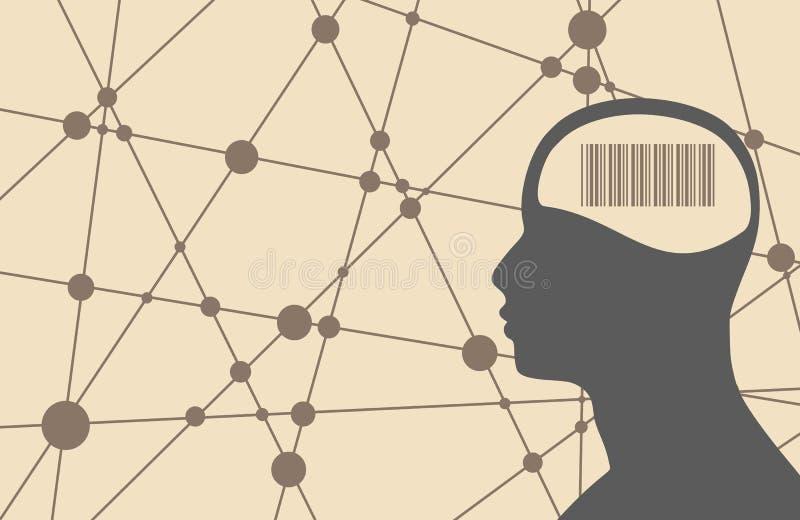 Silhouet van een mensen` s hoofd met streepjescode stock illustratie