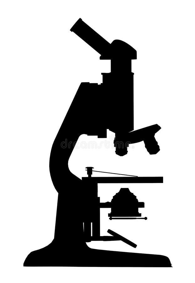 Silhouet van een microscoop vector illustratie