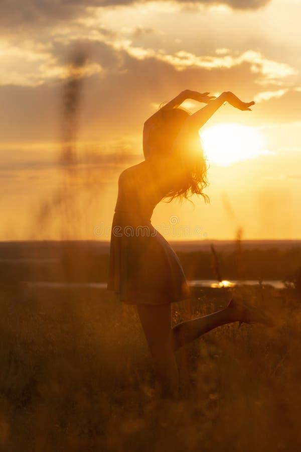 Silhouet van een mooi dromerig meisje bij zonsondergang op een gebied, een jonge vrouwenidance met geluk op aard royalty-vrije stock afbeelding