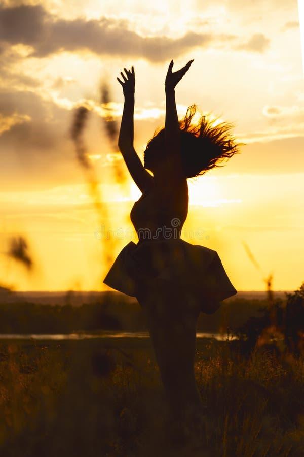 silhouet van een mooi dromerig meisje in een kleding bij zonsondergang op een gebied, cijfer van jonge vrouw met lange haren die  stock afbeelding