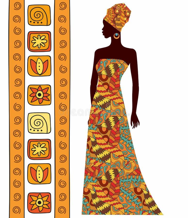 Silhouet van een mooie Afrikaanse die vrouw op witte achtergrond wordt geïsoleerd vector illustratie