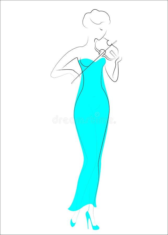 Silhouet van een mooie dame in een avond lange purpere kleding Het meisje is slank en elegant Een vrouw speelt de viool, is zij a royalty-vrije illustratie
