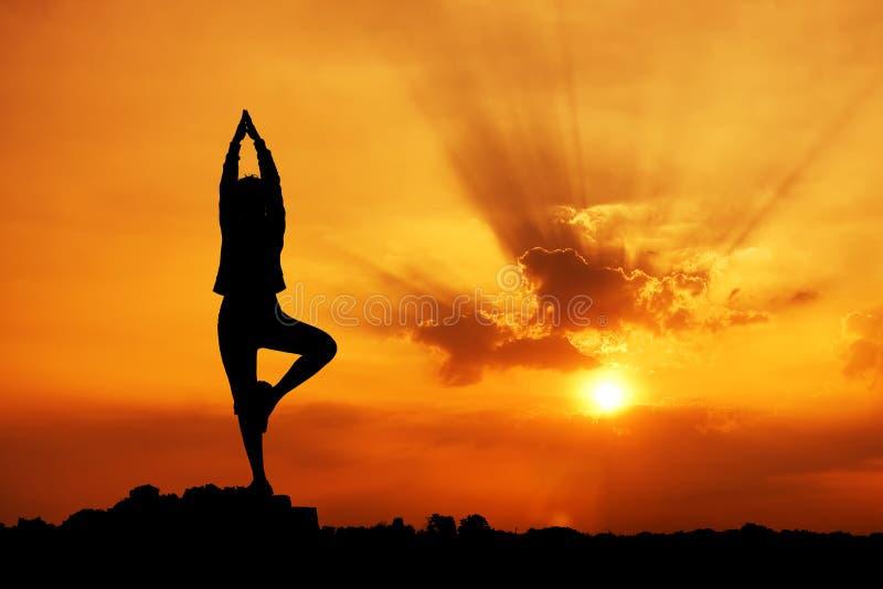 Silhouet van een mooie vrouw van de Yoga royalty-vrije stock afbeeldingen