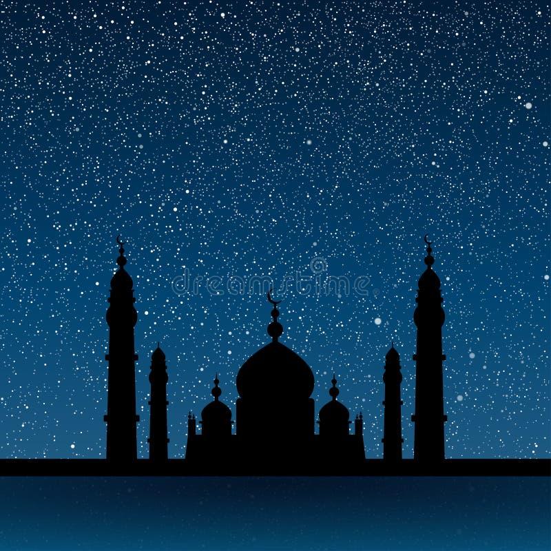 Silhouet van een moskee Sterrige hemel Eps 10 stock illustratie