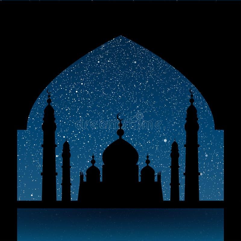 Silhouet van een moskee Sterrige hemel Eps 10 vector illustratie
