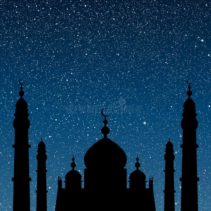 Silhouet van een moskee Sterrige hemel Eps 10 royalty-vrije illustratie