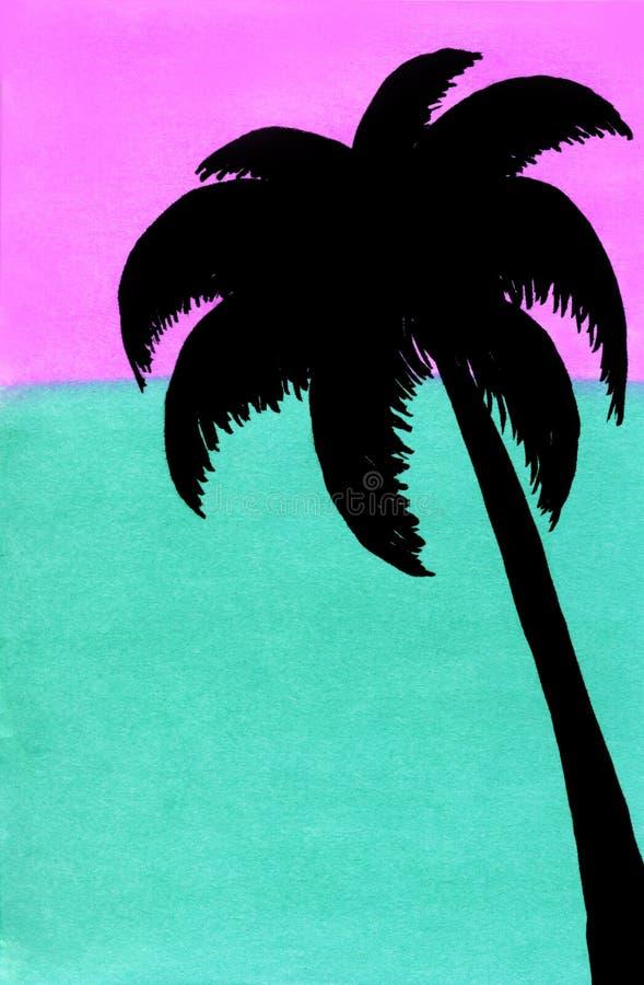 Silhouet van een palm tegen de het zonsonderganghemel en overzees, roze en turkoois vector illustratie