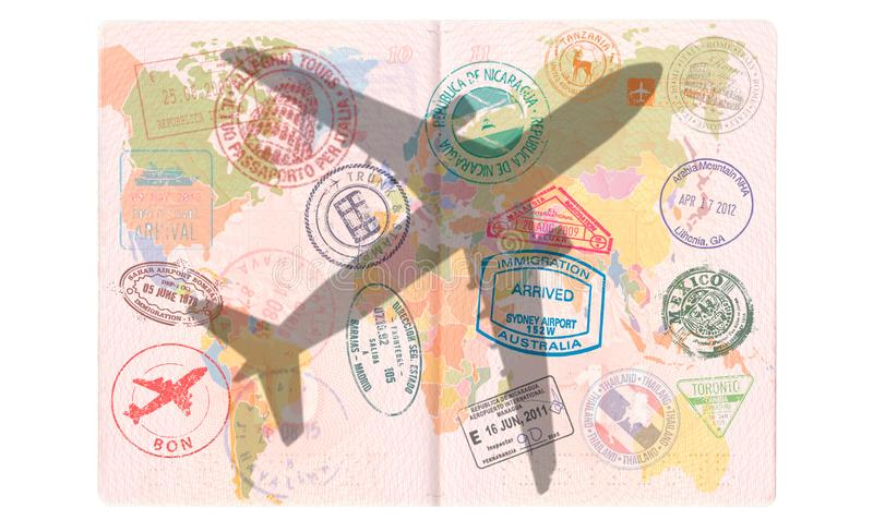 Silhouet van een passagiersvliegtuig in het Paspoort Wereldkaart, Reisconcept stock afbeelding