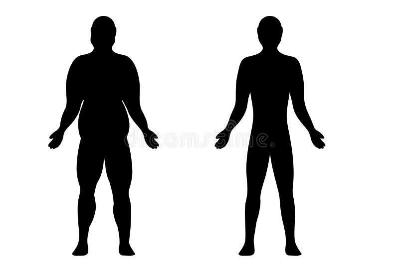 Silhouet van een slanke mens en zwaarlijvig stock illustratie
