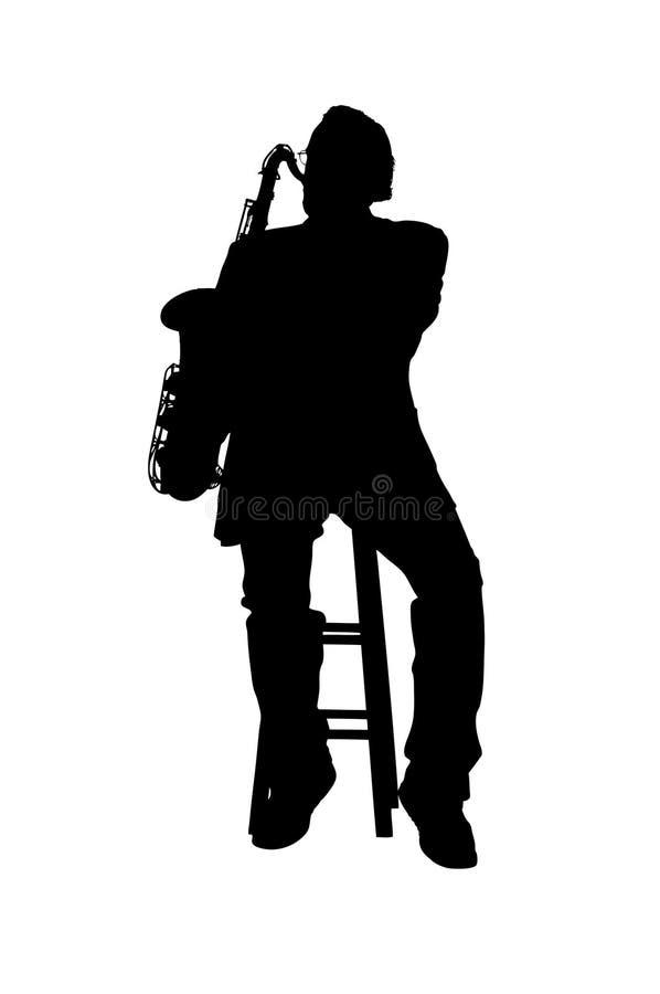 Silhouet van een speler van de teneursaxofoon vector illustratie
