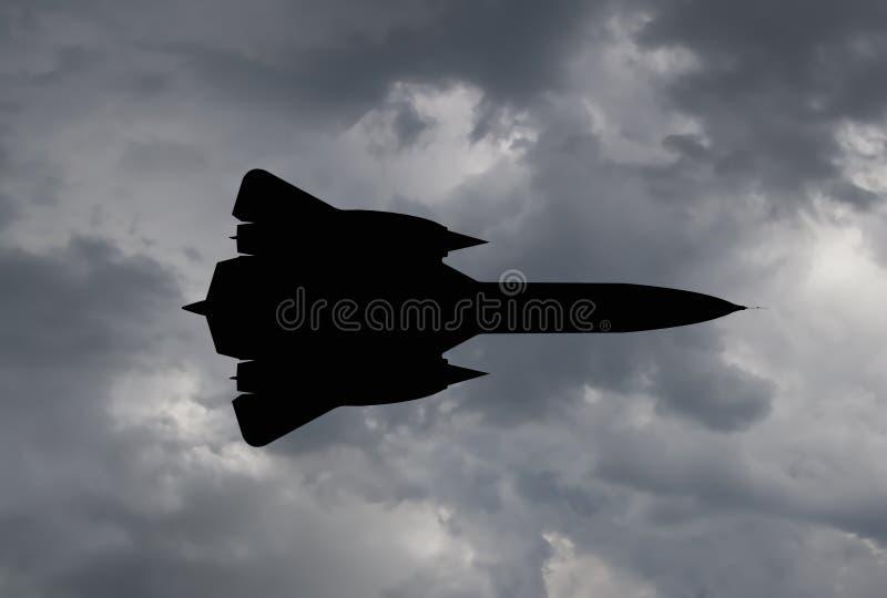 Silhouet van een spionvliegtuig stock illustratie