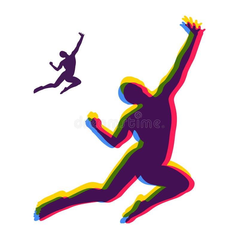 silhouet van een springende mens Het concept van de vrijheid Vector illustratie vector illustratie