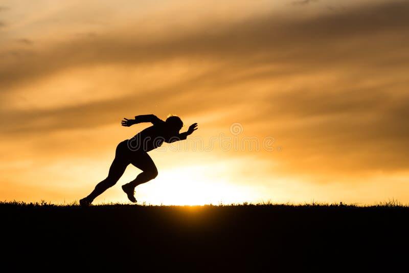 Silhouet van een sprinter royalty-vrije stock afbeelding