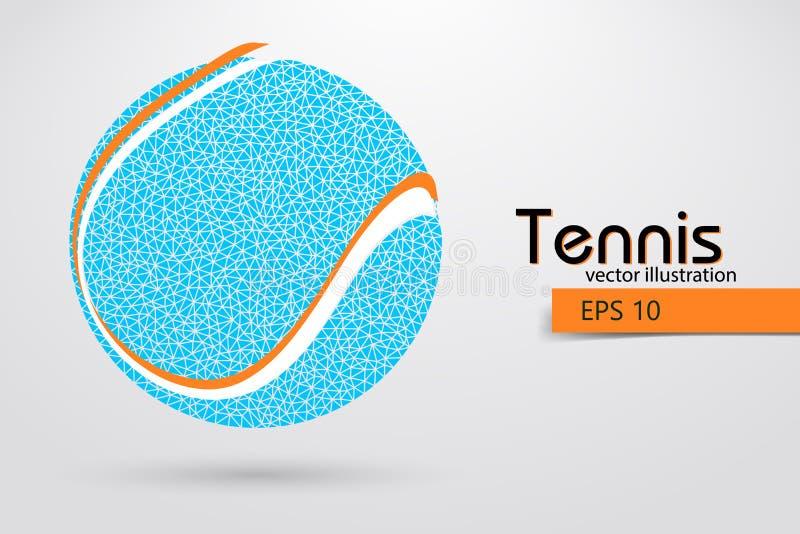 Silhouet van een tennisbal van deeltjes royalty-vrije illustratie