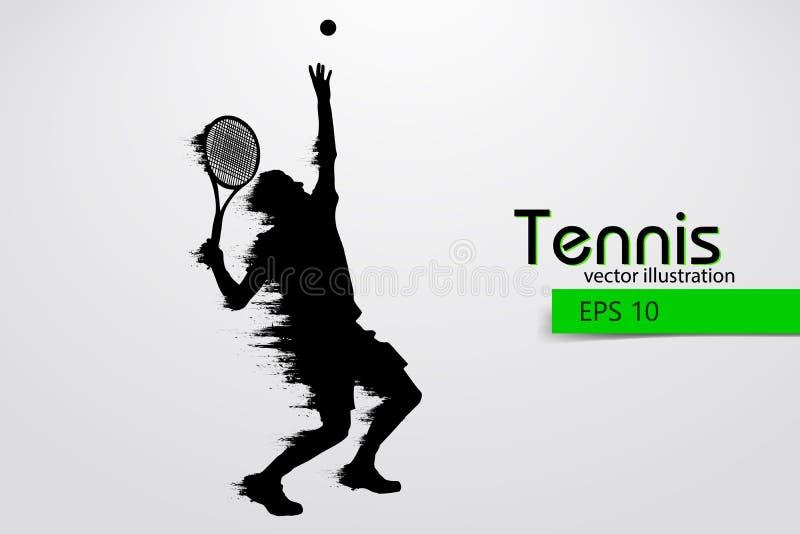 Silhouet van een tennisspeler Vector illustratie royalty-vrije illustratie