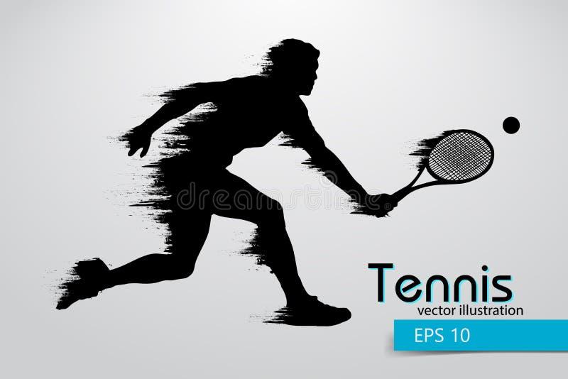 Silhouet van een tennisspeler Vector illustratie vector illustratie
