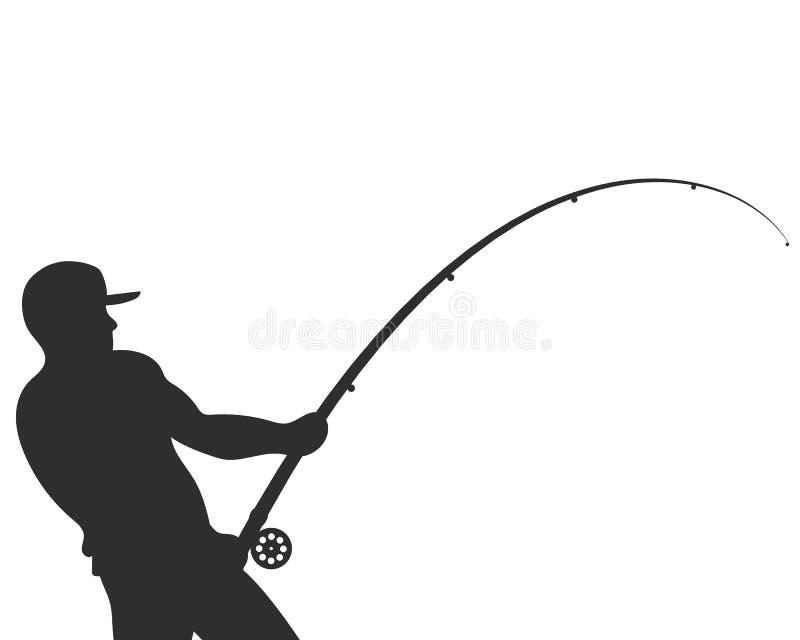 Silhouet van een visser met een hengelvector vector illustratie