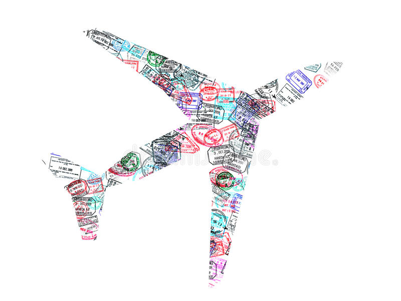 Silhouet van een vliegtuig dat met paspoortzegels wordt gecreeerd op witte achtergrond royalty-vrije stock fotografie