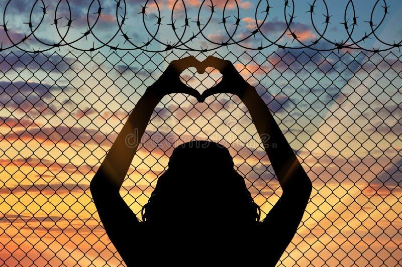 Silhouet van een vluchteling royalty-vrije illustratie