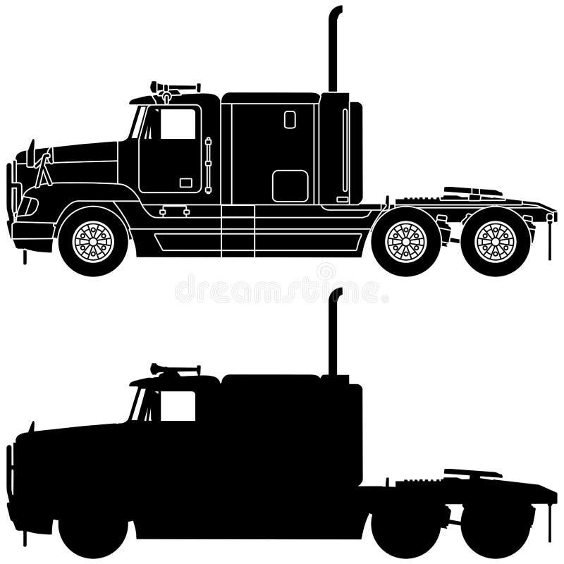Silhouet van een vrachtwagen royalty-vrije illustratie