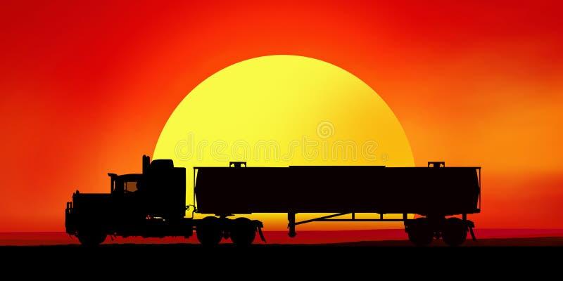 Silhouet van een vrachtwagen bij zonsondergang royalty-vrije illustratie