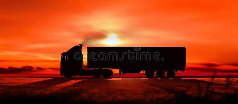 Silhouet van een vrachtwagen bij zonsondergang stock illustratie