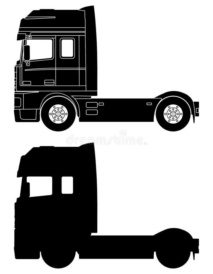 Silhouet van een vrachtwagen DAF 95XF stock illustratie