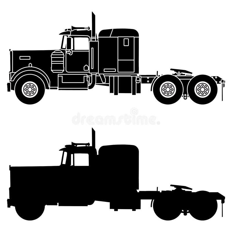 Silhouet van een vrachtwagen kenworth w900 vector illustratie