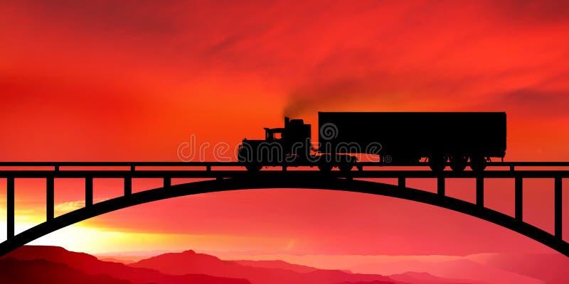 Silhouet van een vrachtwagen op een brug royalty-vrije illustratie