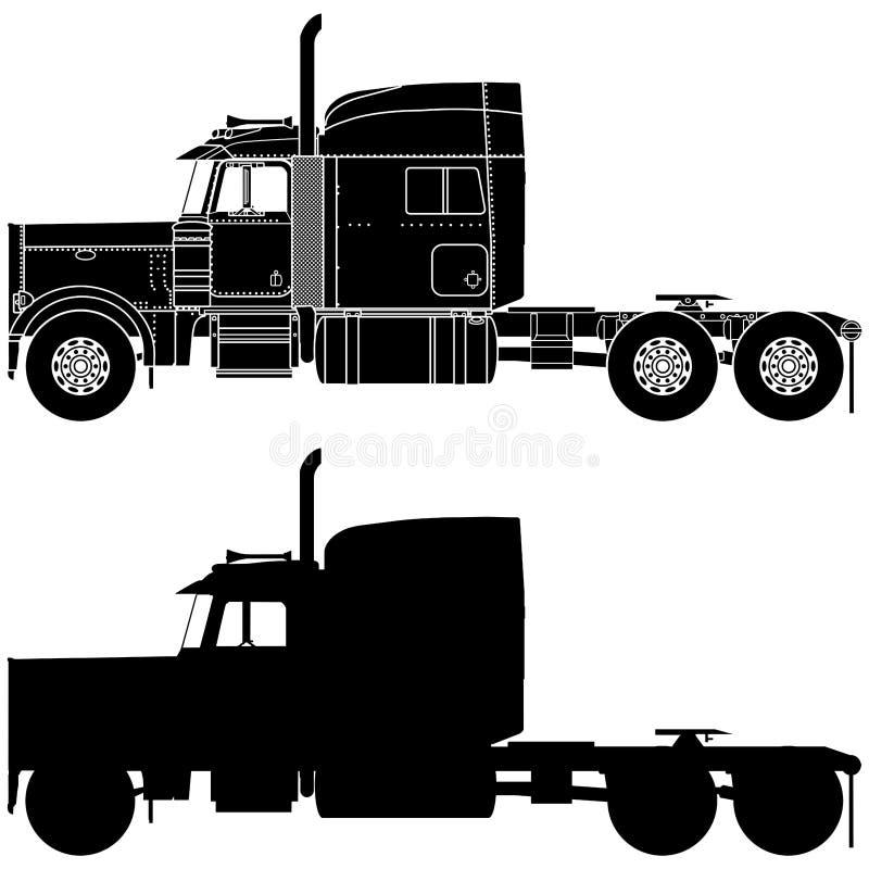 Silhouet van een vrachtwagen Peterbilt 379 stock illustratie