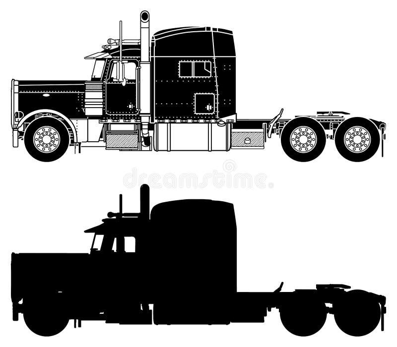 Silhouet van een vrachtwagen Peterbilt 379X vector illustratie