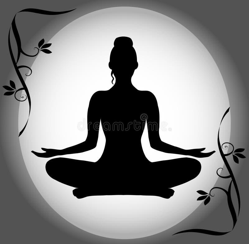 Silhouet van een Vrouw in de Positie van Lotus stock illustratie