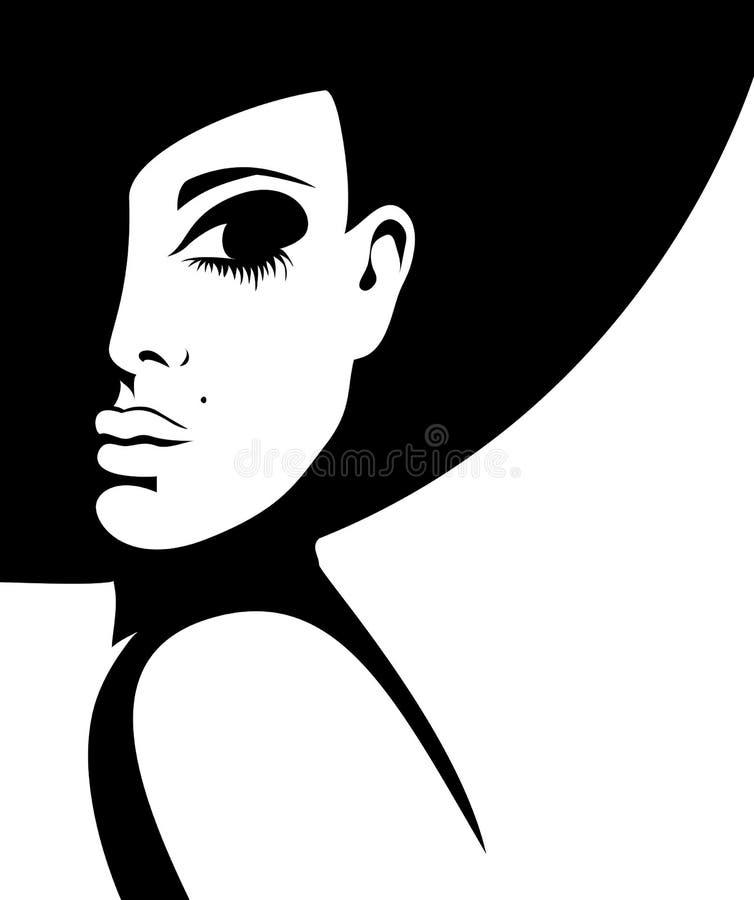 Silhouet van een vrouw in een zwarte hoed royalty-vrije illustratie