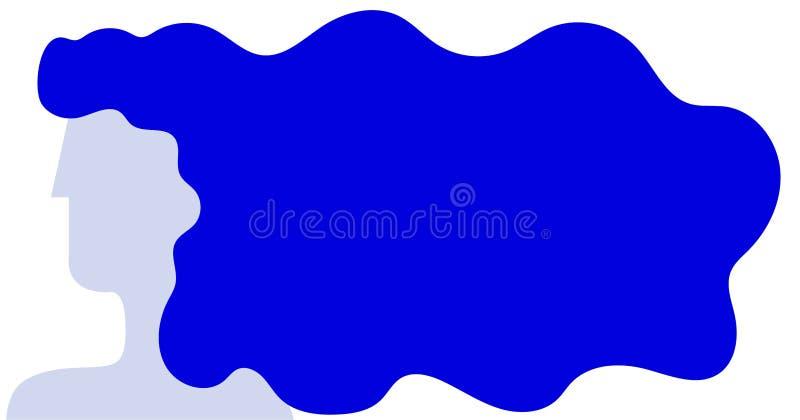 Silhouet van een vrouw met lang haar in blauwe tonen Vlakke stijl Vector vector illustratie
