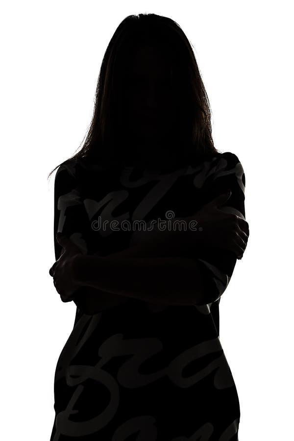 Silhouet van een vrouw in schaduw royalty-vrije stock foto