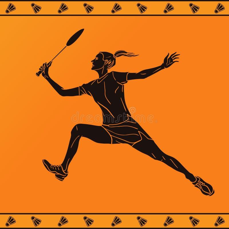 Silhouet van een vrouwelijke Professionele Badmintonspeler stock illustratie