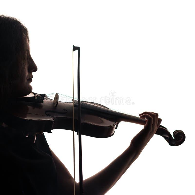 Silhouet van een vrouwenviolist Square Close-up Viool en boog in muzikale handen royalty-vrije stock foto