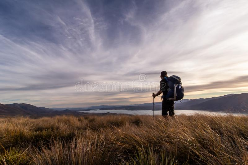 Silhouet van een wandelaar in zonsondergang, Meer Tekapo, Nieuw Zeeland stock foto