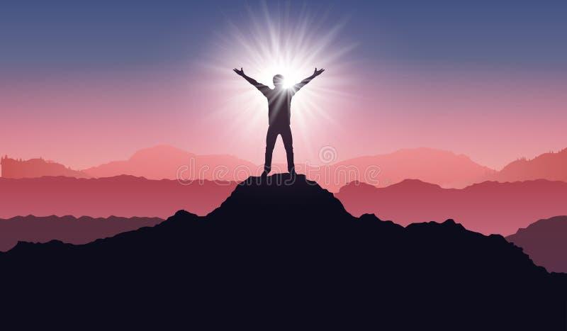 Silhouet van een winnaar op bergpiek Actief het levensconcept Mensensilhouet op zonsopgang - voorraadvector stock illustratie