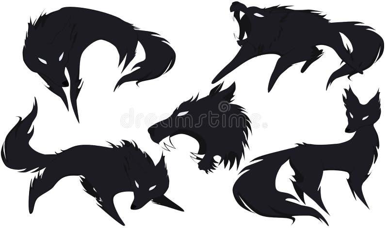 Silhouet van een wolf in verschillende versies royalty-vrije stock foto's