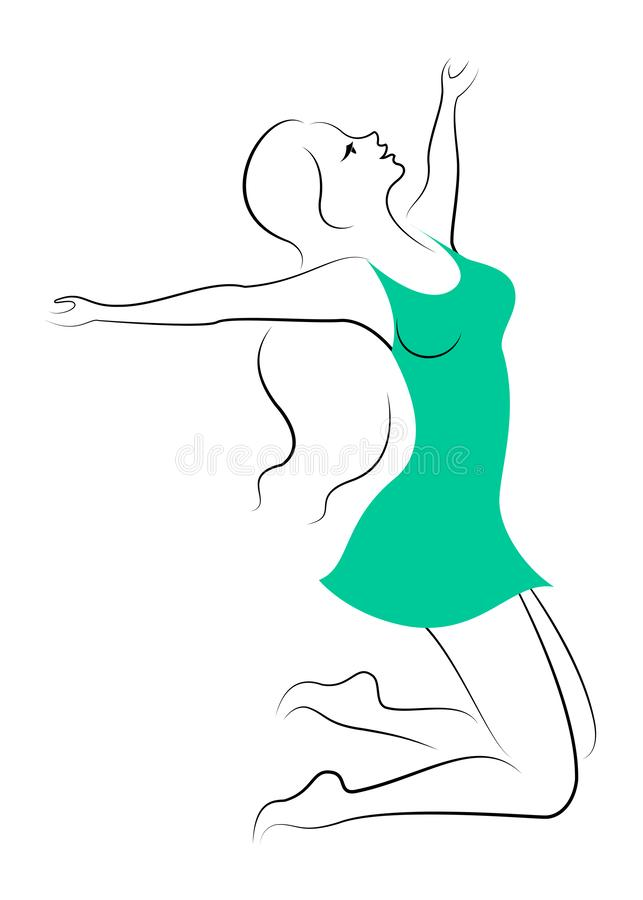 Silhouet van een zoete dame De dame is gelukkig, springend voor vreugde, ophief haar handen De vrouw is jong en slank Vector illu vector illustratie