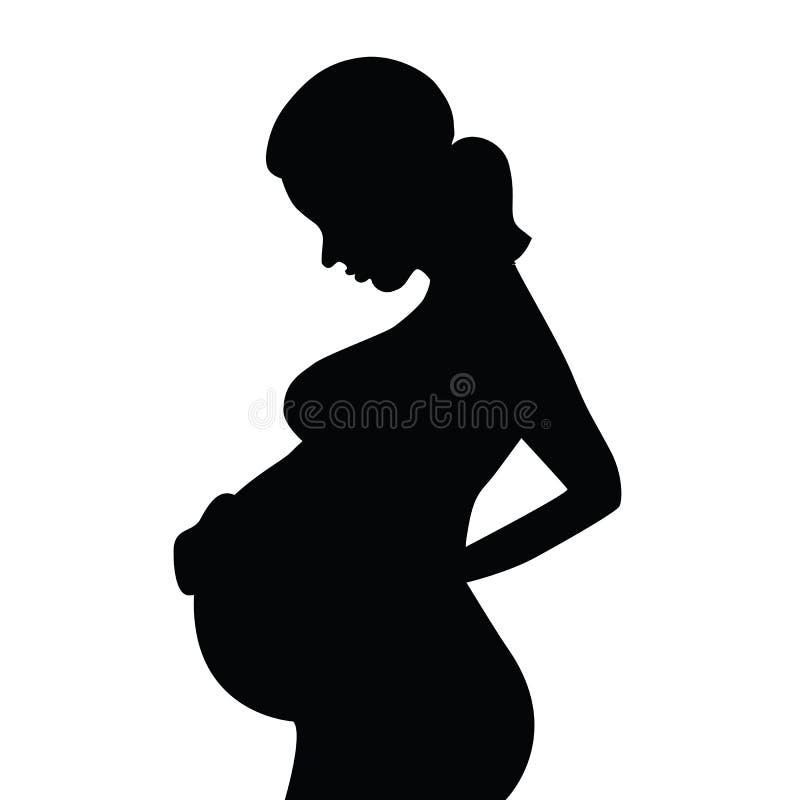 Silhouet van een zwangere vrouw royalty-vrije illustratie