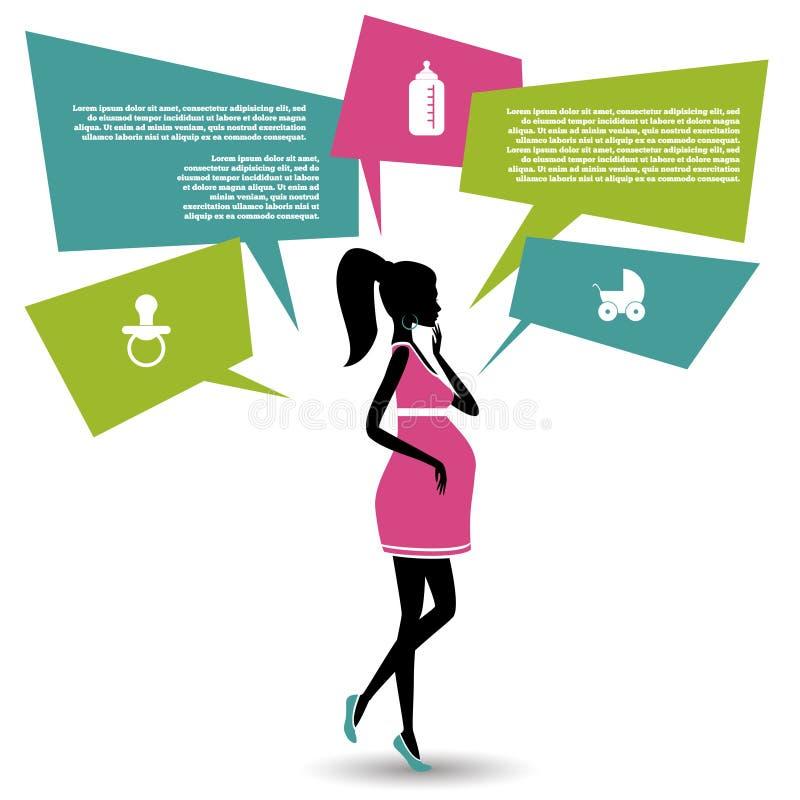 Silhouet van een zwangere vrouw met toespraakbellen stock illustratie