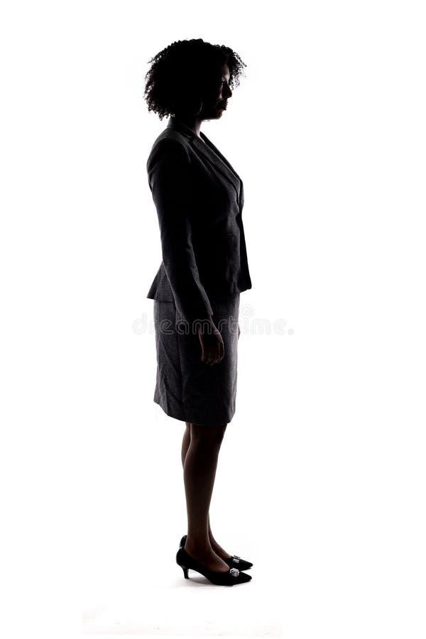 Silhouet van een Zwarte Onderneemster stock afbeelding