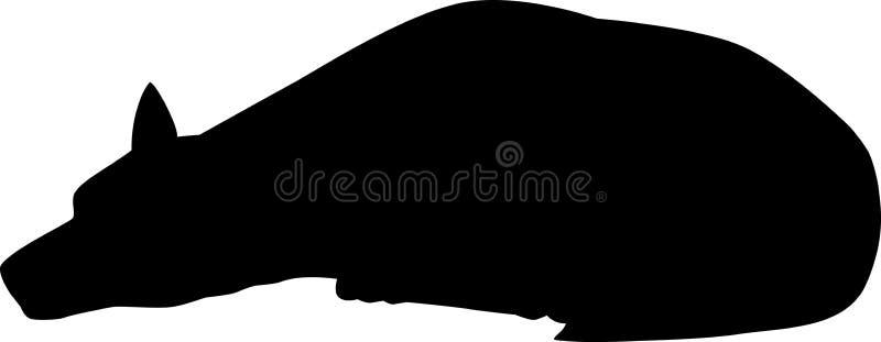 Silhouet van eenzame hond royalty-vrije illustratie
