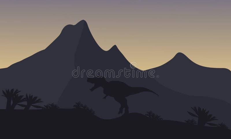 Silhouet van enige brachiosaurus in berg stock illustratie